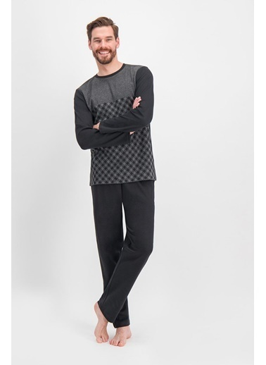 Arnetta Arnetta Chess Ekose Siyah Erkek Pijama Takımı Siyah